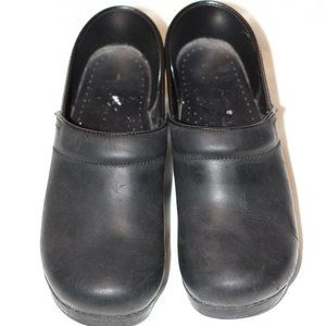 Dansko Black Leather Professional Clogs 41
